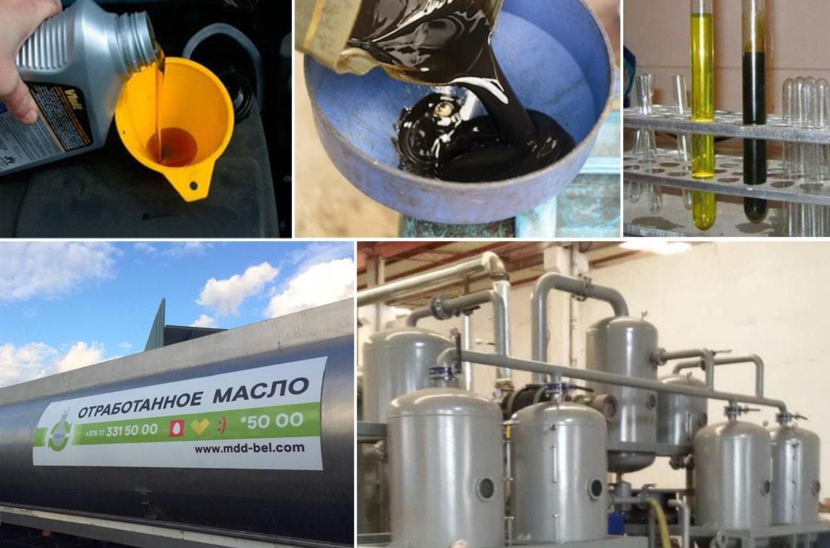 Процесс переработки отработанного машинного масла в дизтопливо