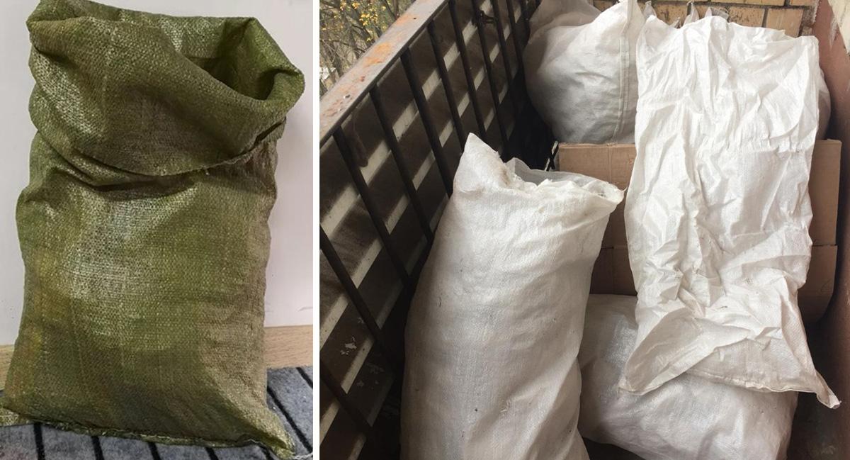 Зеленые и белые мешки