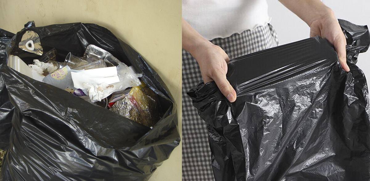 Проверка прочности мусорного пакета