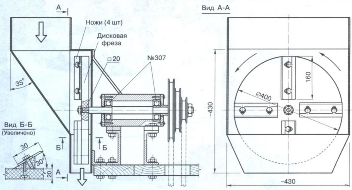 Чертеж стационарного измельчителя роторного типа