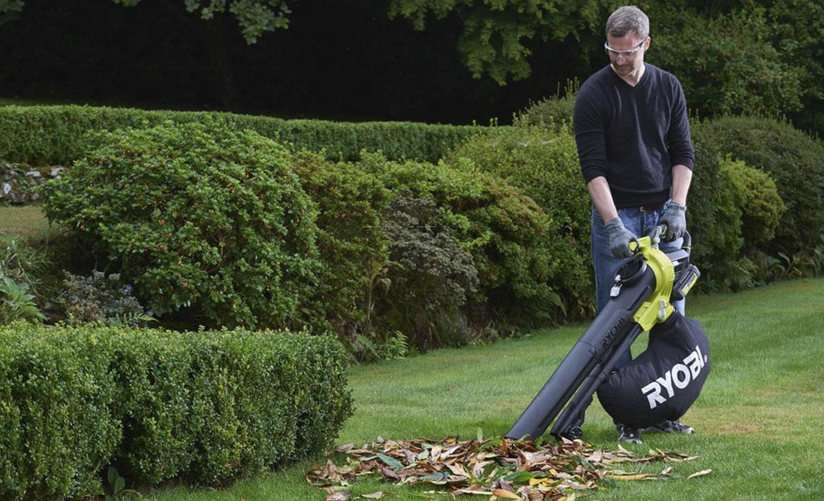 Аккумуляторный садовый пылесос для сбора листьев