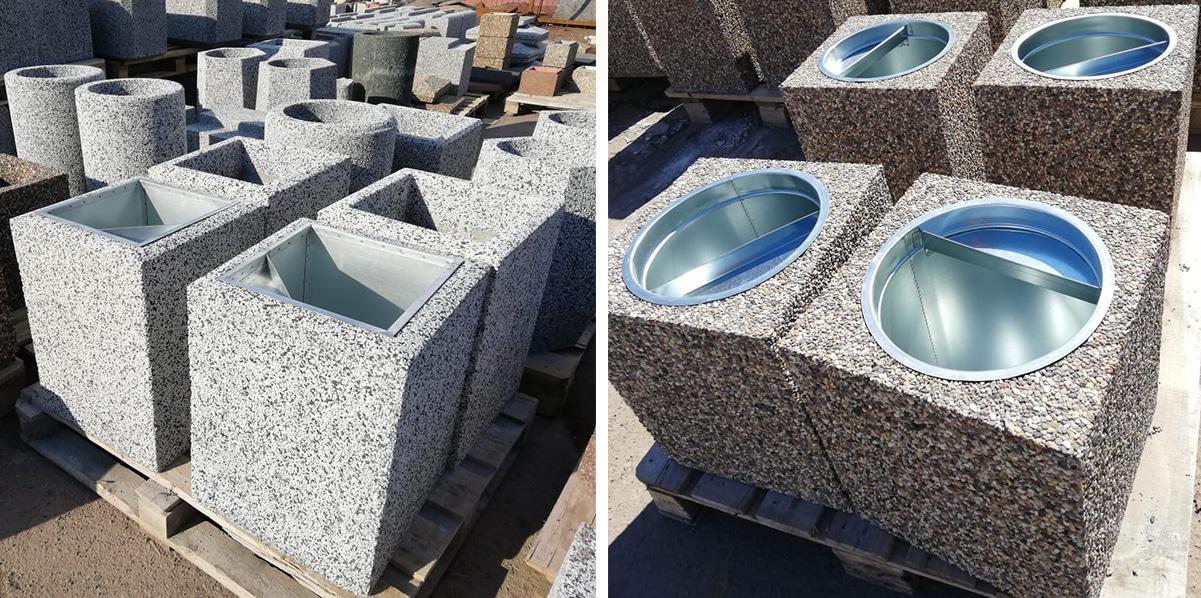Разнообразие форм урн из бетона