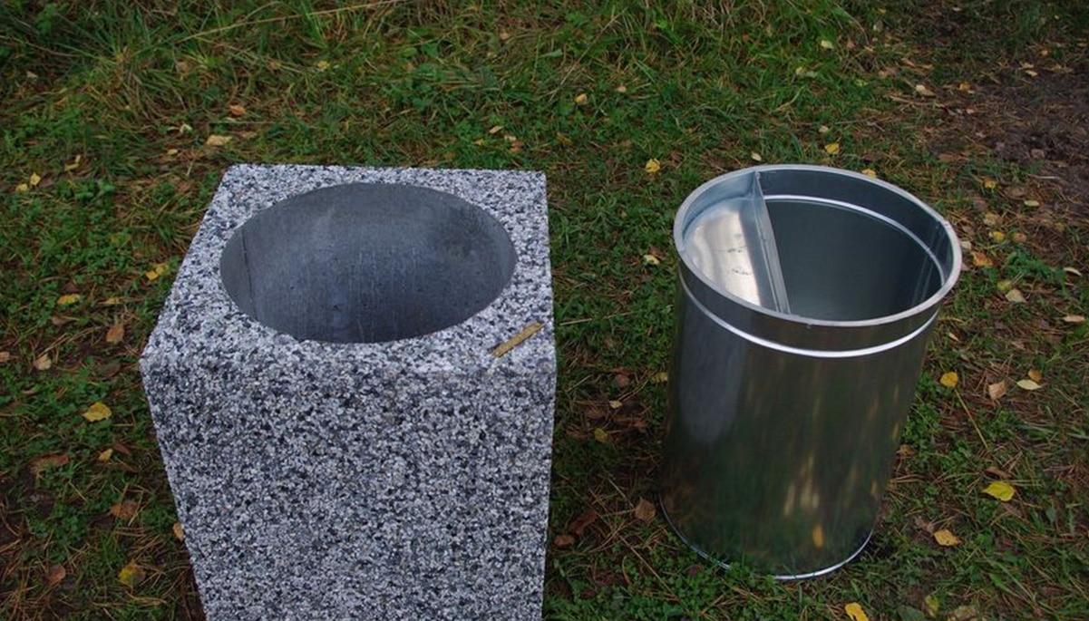 Урна из бетона с внутренним ведром