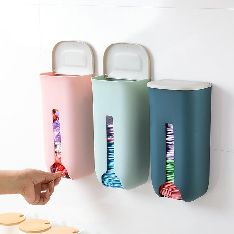 Контейнер для хранения мусорных пакетов, настенный пластиковый стеллаж с крышкой для дома, кухни, ванной комнаты|Мешки для мусора| | АлиЭкспресс