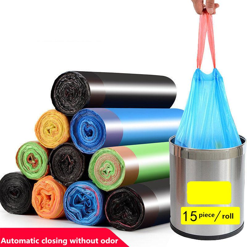 Высококачественные мешки для мусора, мешки для мусора, кухонный контейнер для мусора, 15 шт./рулон, бытовые одноразовые ручки ПЭ шнурок|Мешки для мусора| | АлиЭкспресс