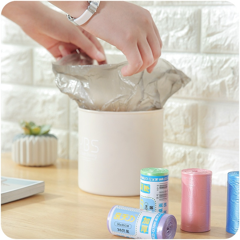 30 шт./рулон, одноразовые пластиковые мешки для мусора|Мешки для мусора| | АлиЭкспресс