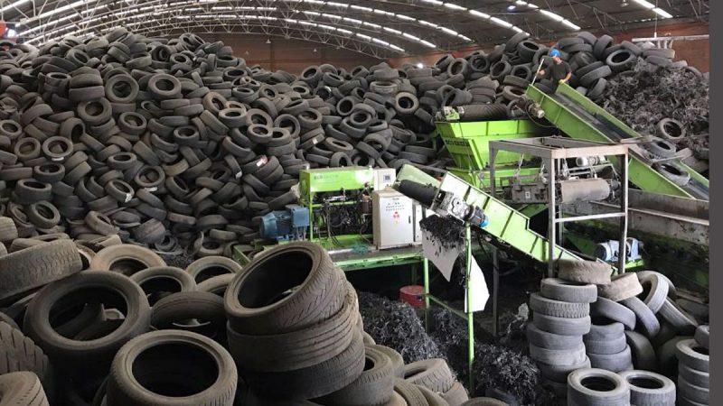 склад изношенных шин для переработки