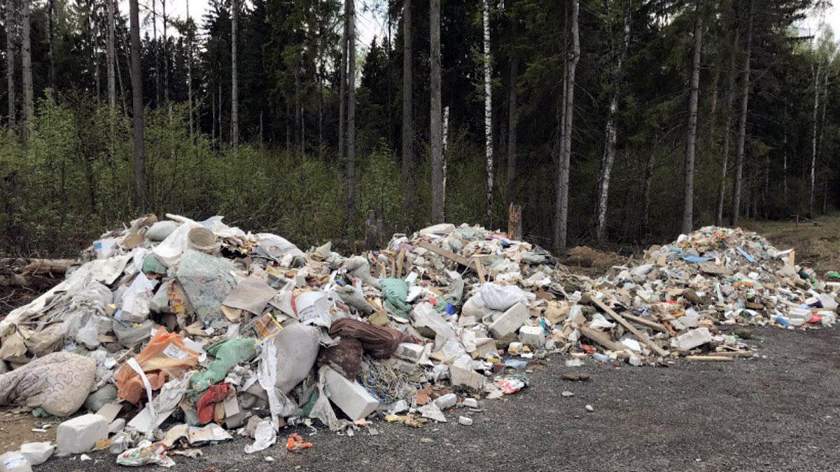 Несанкционированная свалка строительного мусора в лесу